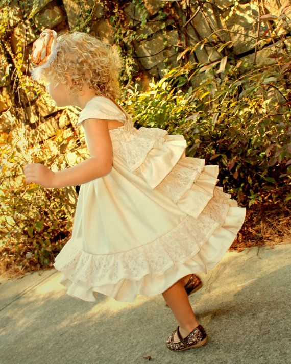 Champagne Lace and Shantung Flower Girl Dress by rosieposiegifts, $90.00