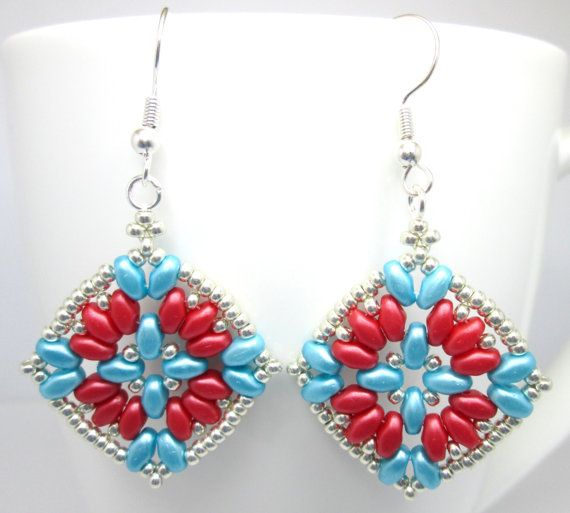 Red and teal super duo earrings, teal earrings, turquoise earrings, superduo earrings, statement earrings, ER006