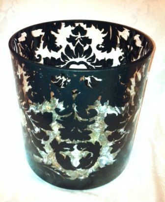Black and White Wedding Black Damask Vase