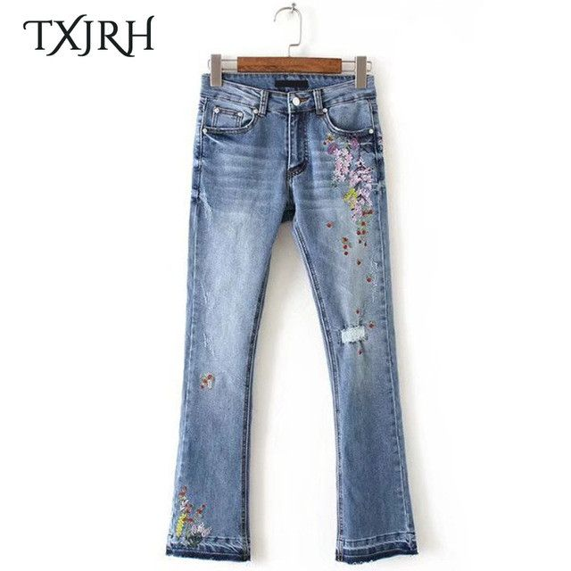 TXJRH Vintage Floral Embroidery Demin Skinny Jeans Flare Pants Ripped Washed Bleached Zip Cozy Casual Women Slim Trousers Pants