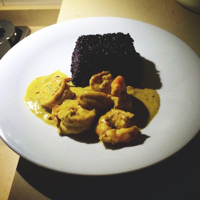 Black Rice-Shrimp-Curry Cream