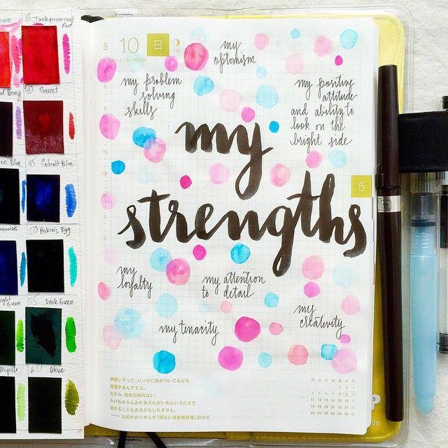 Day 10 of the #listersgottalist challenge: my strengths  Pentel Arts pocket brush pen