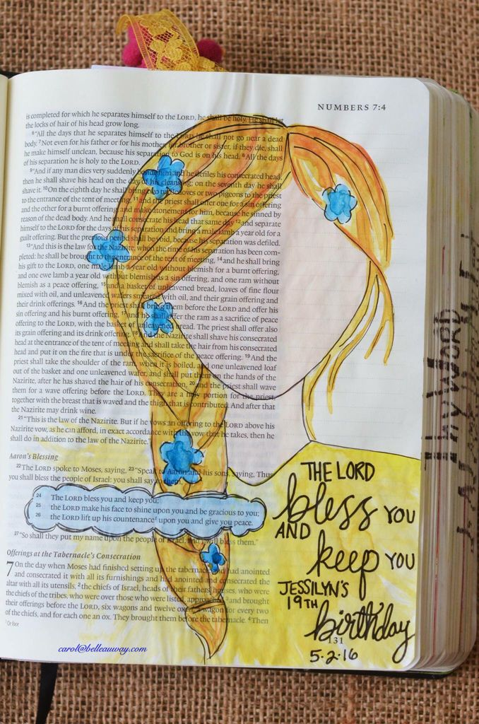 Numbers 6:24-26, May 2, 2016, carol@belleauway.com, watercolor, inspired by Ashley Magnolia tutorial and free spirit farmhouse hymnal girls, Illustrated Faith pen, bible art journaling, bible journaling, illustrated faith