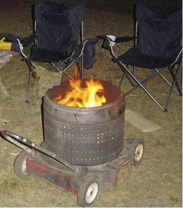 Movable Redneck FIRE PIT from retired Washer Drum & Mower