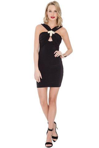 Jacqueline Cross Over Front Mini Dress - Black – Juicy Secrets