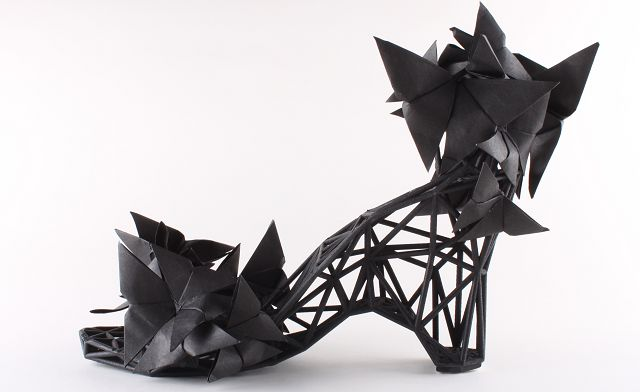 A shoe created using a 3D printer by the design duo Mary Huang and Jenna Fizel.