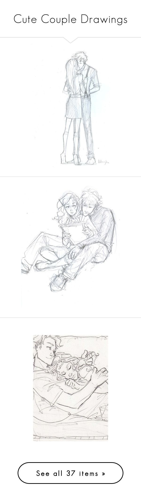 """""""Cute Couple Drawings"""" by musicdreamlove ❤ liked on Polyvore featuring drawings, fillers, drawing, couples, doodles, pictures, sketches, phrase, quotes and saying"""