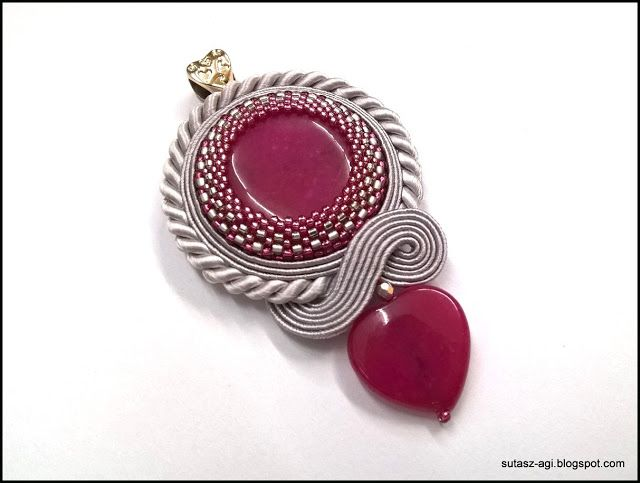Amaranth&gray soutache pendant