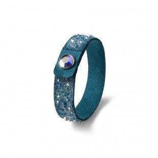 Oliver Weber Women turquoise small disco bracelet glitter alcantara with Swarovski Crystals