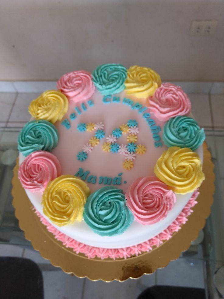 Torta fondant y rosas Buttercream