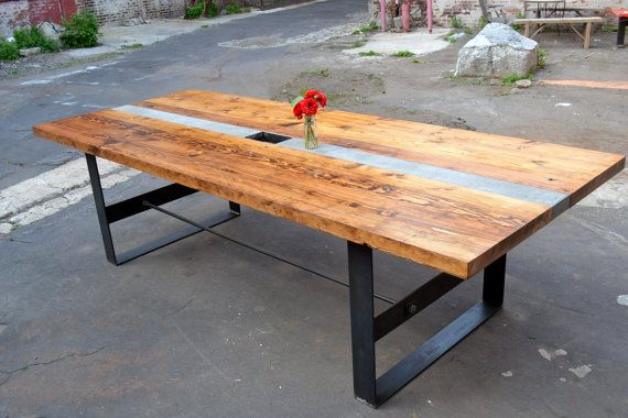 reclaimed wood and concrete conference table by