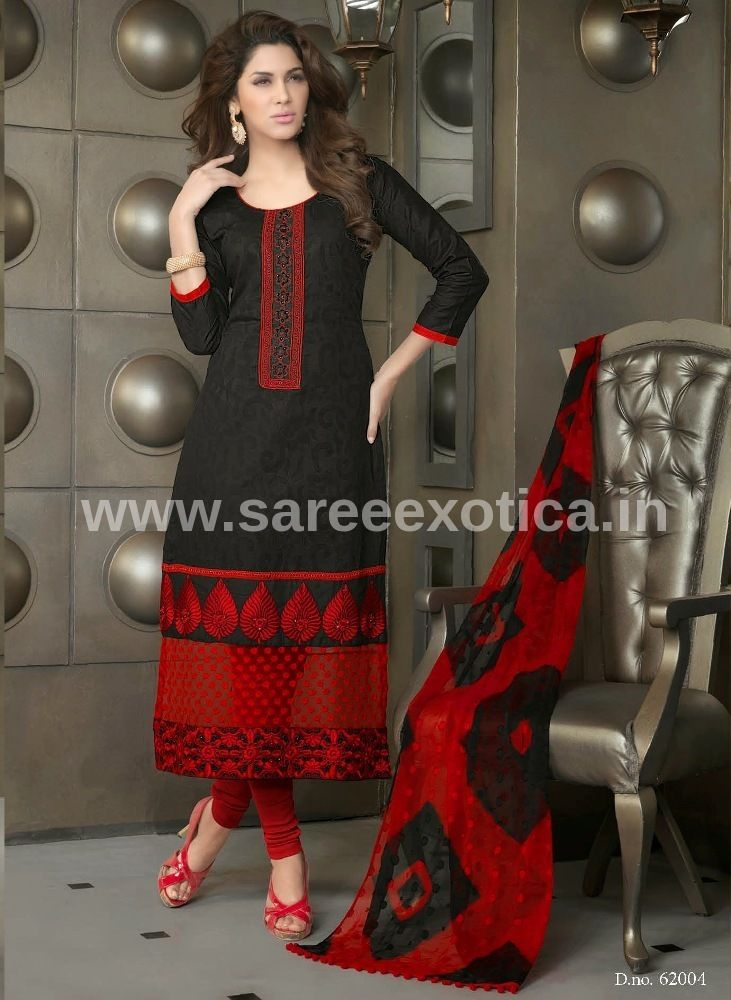 ‪Marvelous‬ Designer ‪Black Red‬ Salwar Suit only on www.sareeexotica.in