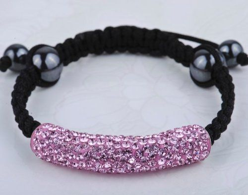 Shamballa Bracelets Micro Pave Pink CZ Crystal Long tube bending beads bracelet Shamballa. $10.99. Macrame Bracelet. Pink CZ Crystal. Adjustable. Save 45%!