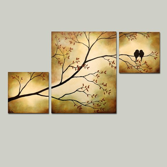 Original Tree Branch with Birds Triptych 36 x 20 Large Painting via Etsy