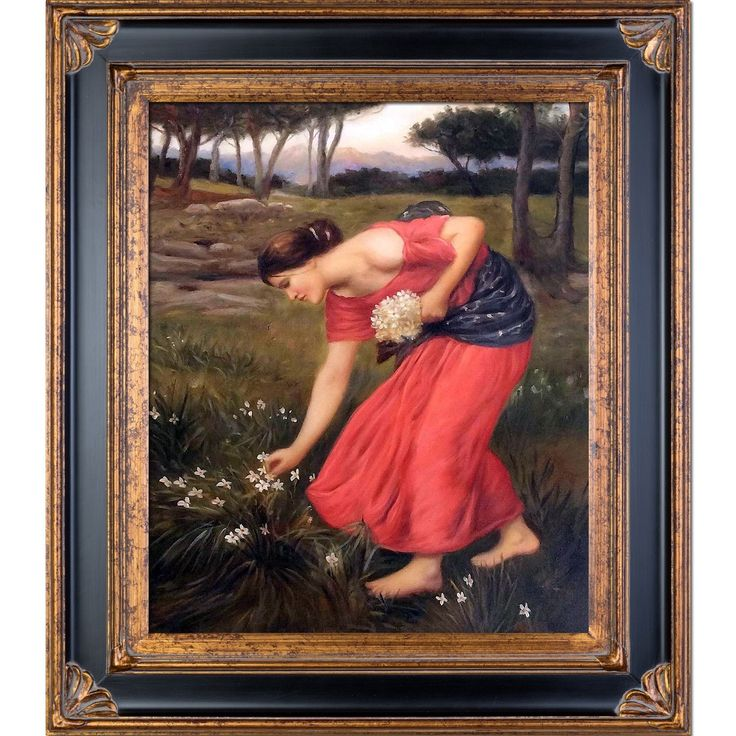 La Pastiche John William Waterhouse 'Narcissus' Hand Painted Framed Art