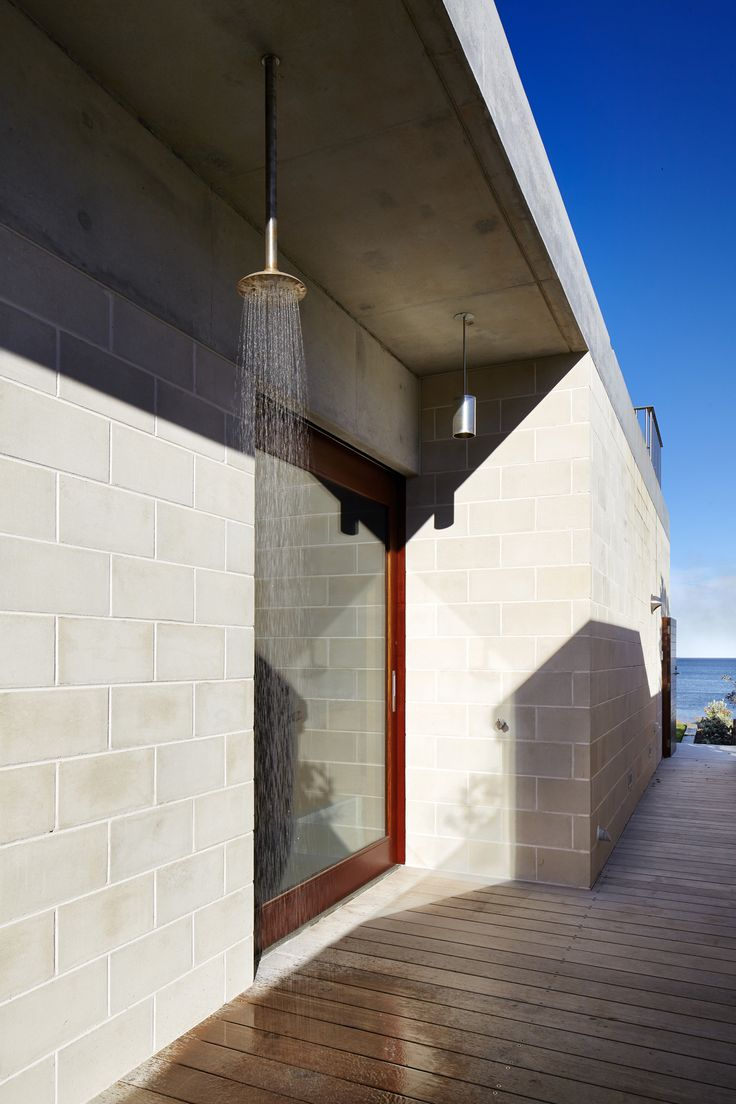 Pin by herman boon on outdoor shower pinterest beach for Besser block home designs