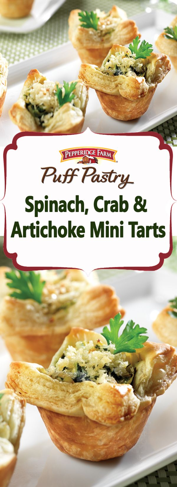 Pepperidge Farm Puff Pastry Spinach, Crab & Artichoke Mini Tarts Recipe. Tired of serving the same old appetizers?  Try these mini Puff Pastry tarts with a savory crab and veggie filling that will earn rave reviews from your guests.
