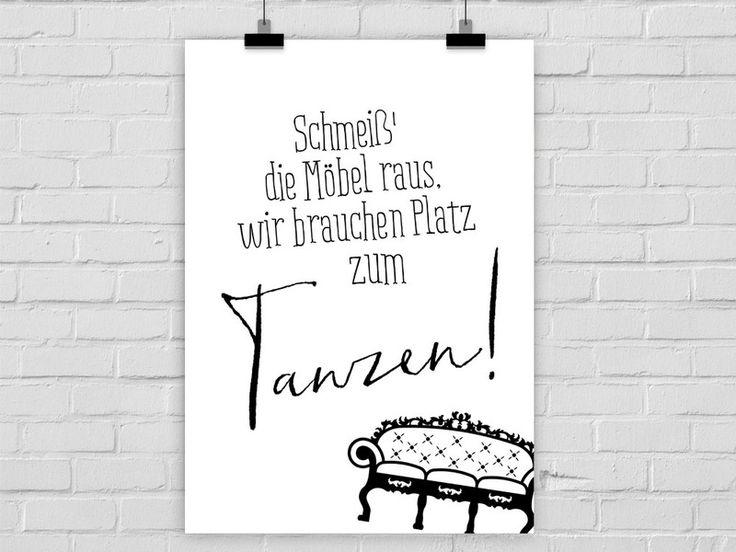 Typo/Druck Platz zum Tanzen // poster/print more space to dance by Prints Eisenherz via DaWanda.com