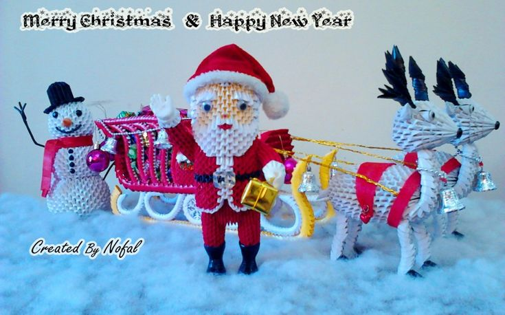 oragami 3d santa | santa claus snowman santa claus snowman
