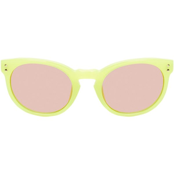 Matthew Williamson by Linda Farrow Gallery Women's Mirror Keyhole... ($109) ❤ liked on Polyvore featuring accessories, eyewear, sunglasses, yellow, yellow round sunglasses, round keyhole sunglasses, round mirrored sunglasses, acetate sunglasses and round sunglasses