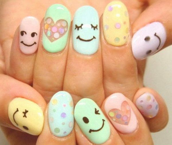 Cute and Happy Smiley Face Nails, http://hative.com/cute-and-happy-smiley-face-nails/,