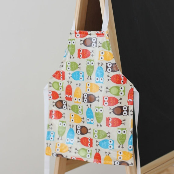 Laminated Apron for Toddlers  Owls Bright by raenne on Etsy, $15.00