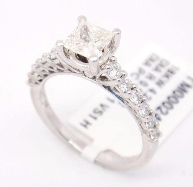 New 18k White Gold VS1/H 1.28CT, Princess Cut Diamond Pave Engagement Ring,8 #TheDiamondGuru #engagement #Engagement