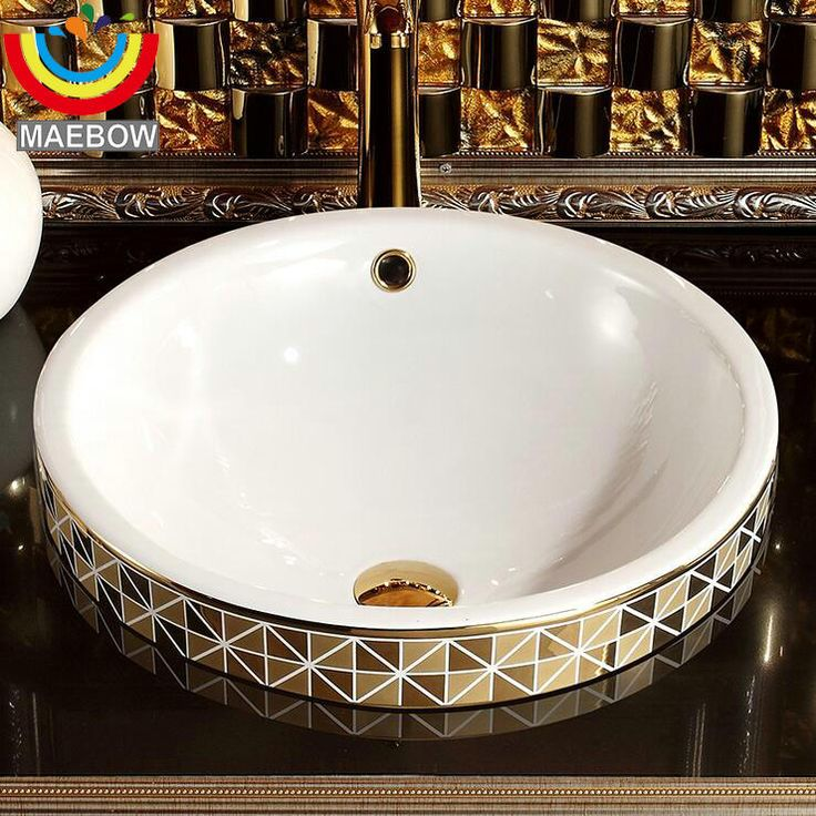 Cheap countertop bathroom sink, Buy Quality bathroom sink directly from China countertop bathroom Suppliers: Gold Mosaic Ceramic Round Semi Countertop Bathroom Sink Art Basin With Overflow