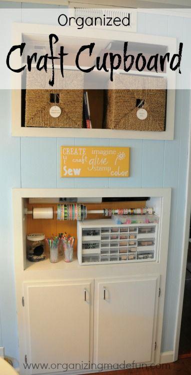 Organized Craft Cupboard | OrganizingMadeFun.com