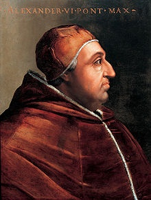 Pope Alexander VI (1492–1503) stepped in the rival claims to the lands Columbus explored, which were pressed by Spain and Portugal. Determined to keep peace, Alexander set a Line of Demarcation dividing the non-European world into two zones. Spain received  exploration and trading rights in lands west of the land, and Portugal received the same rights east of the line.