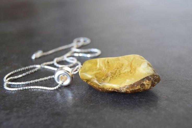"Amber pendant with chain""unique piece"" Colgante de ámbar báltico con cadena 45cm #Pendant"