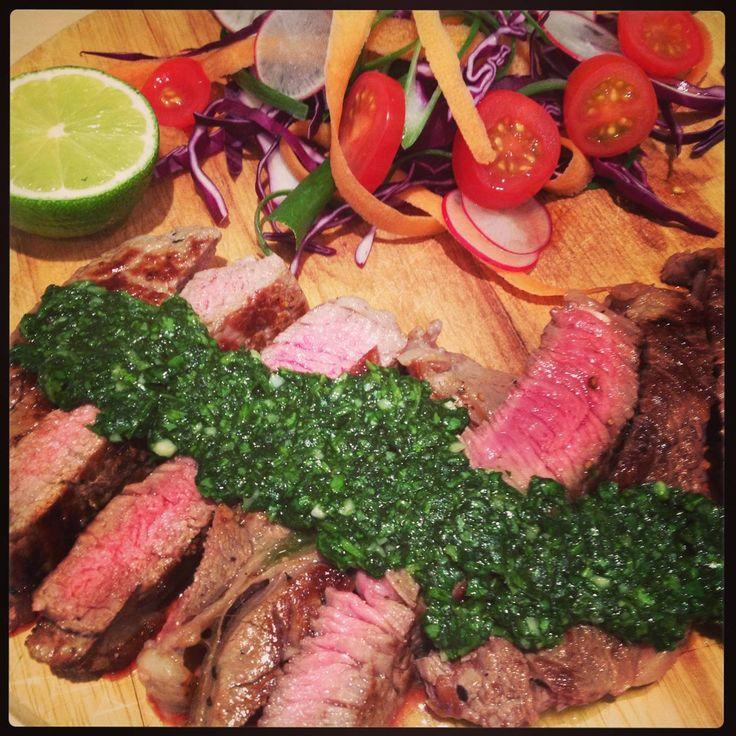 Rib eye Steak with Thai style Chimichurri