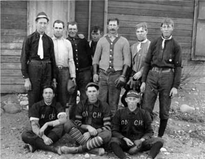 Baseball was a popular sport, and thus the Poncha Springs Orioles of about 1907. Standing, left to right, are unknown, Booth, catcher Bailey Forbes Hutchinson, Collins, John Clinite, L. Brown, and Elbert Brown. In the front are Bert Rogers, ace pitcher Harold Woods (who went on to star in the old Western League), and Jim Woods.