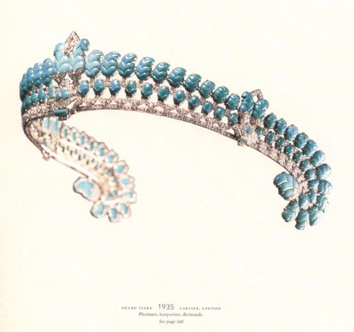 Cartier tiara, 1935 ~ Platinum, turquoises, diamonds