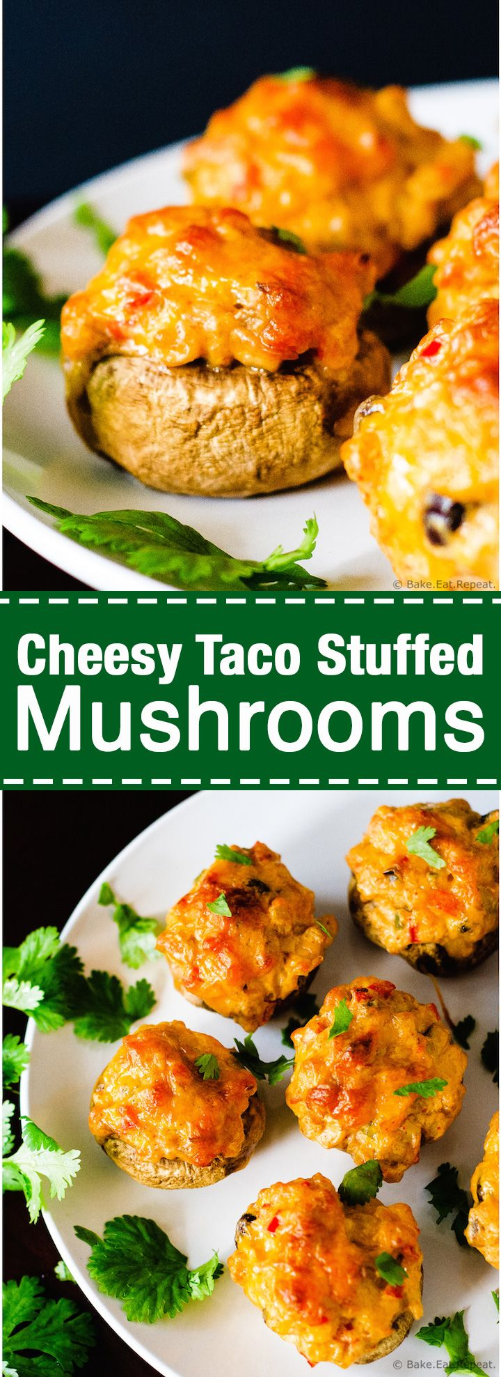 Cheesy Taco Stuffed Mushrooms - Easy to make cheesy taco stuffed mushrooms, a perfect appetizer. Plus they freeze well and can be made ahead of time!
