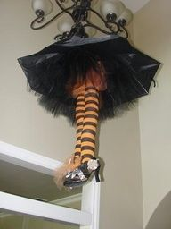 Witch from umbrella, stockings, shoes and tulle. Super-cute.