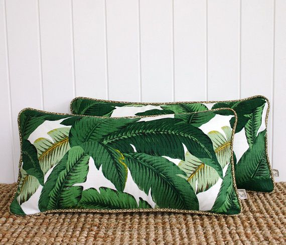 Green Palm Banana leaf Outdoor Lumbar Cushion by SquareFoxDesigns, $58.00 need!!!