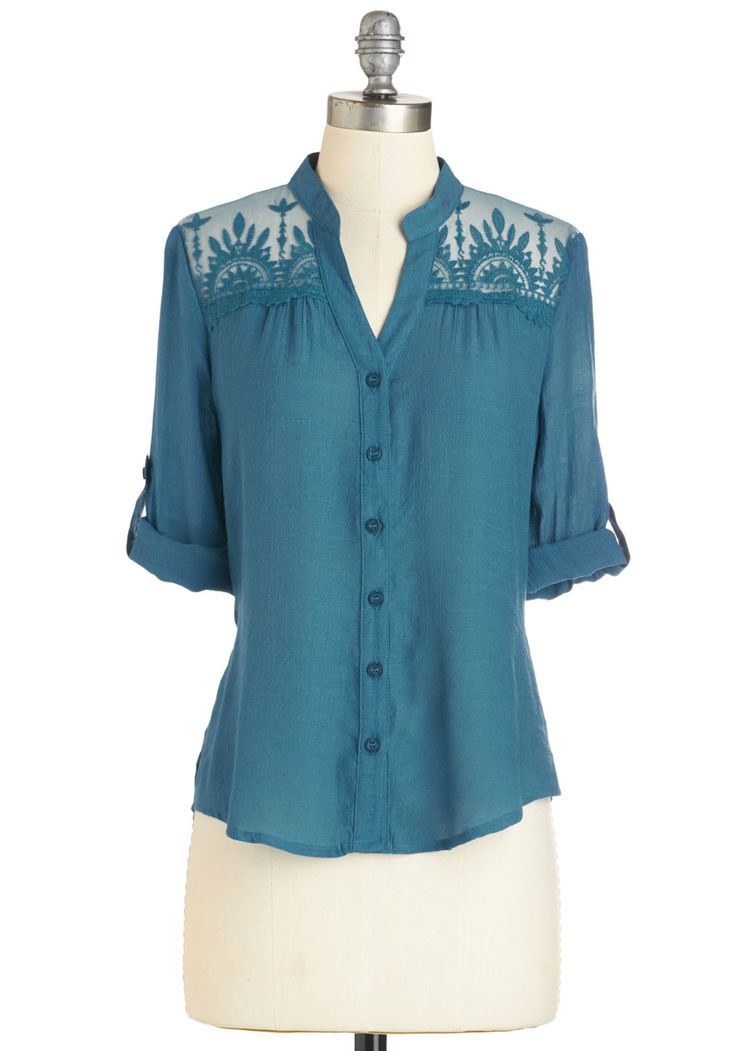Diaphanous Flourish Top. This delicate embroidered blouse is as graceful as you! #blue #modcloth