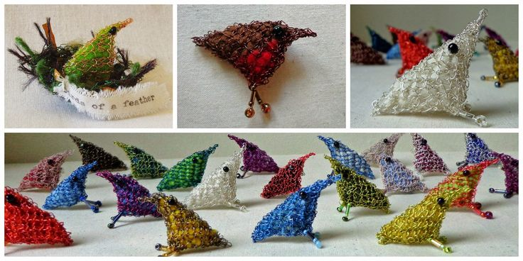 Knitted wire bird brooches