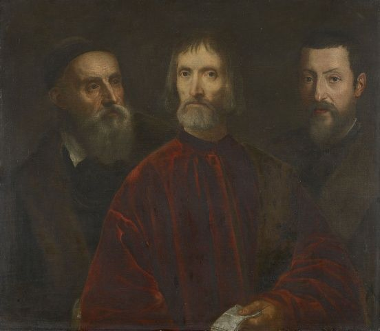 Titian and his Friends 1540-60. ...  A group portrait of three figures at half-length. The man on the right with a long grey beard and skull cap is a self-portrait of Titian. The other two figures are probably his friends – the man in the centre wears a high collared red coat with a fur stole over his left shoulder and is holding a letter; the man on the right looks younger than the other two and wears black and brown.   The picture is thought to have been created in Titian's studio by…