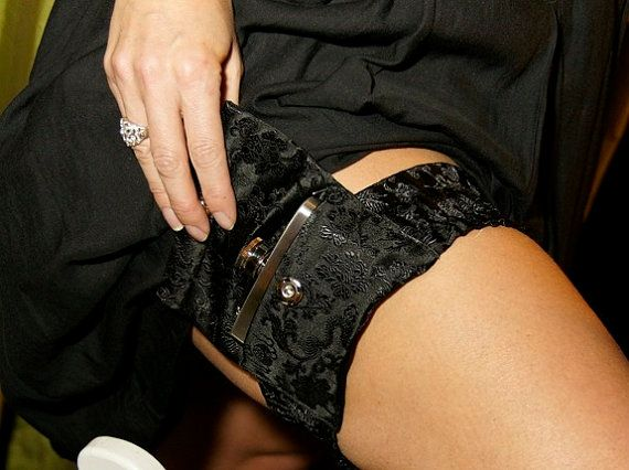 Silk Garter Flask Holder - Black (includes flask)