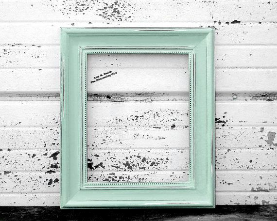 mint green 8x10 picture frame mint decor by thedistressinggirl - Mint Picture Frames