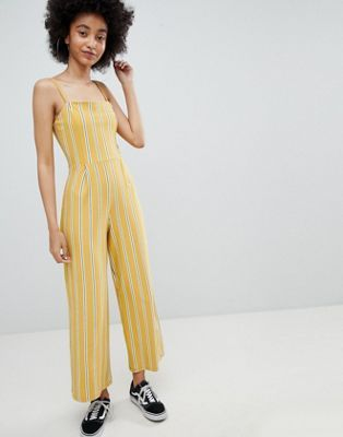 bed5d14b87b Bershka stripe wide leg jumpsuit in yellow in 2019
