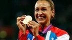 Jessica Ennis with her Olympic gold medal - heptathlon