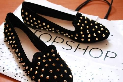 Beautiful  black shoes with studs Shoes -Topshop