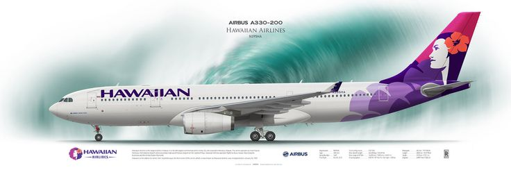 Airbus A330-200 Hawaiian Airlines N395HA | Airliner Profile Art Prints | www.aviaposter.com | #airliners #aviation #jetliner #airplane #pilot #aviationlovers #avgeek #jet #airbus #a330