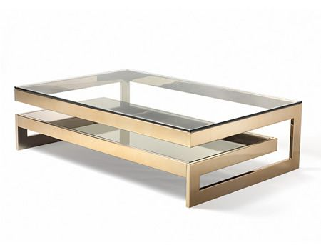 """""""BRUXELLES"""" COCKTAIL TABLE 2-tiers of polished steel with Rose Gold finished rails in maze motif with clear lay-on glass top and inset bron..."""