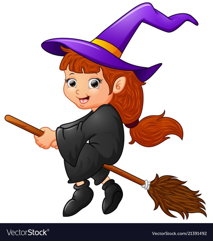 illustration of Cartoon witch flying. Download a Free