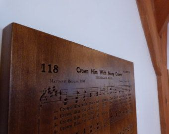 Crown Him With Many Crowns hymn carving on Maple wood - Edit Listing - Etsy
