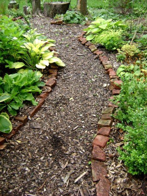 wood chip pathway backyard ideas pinterest bench